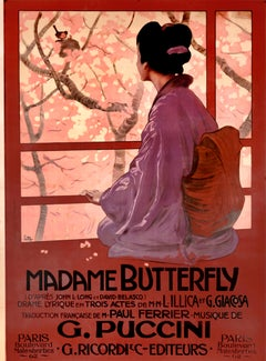 """Madame Butterfly,"" Original Vintage Opera Poster 1904"