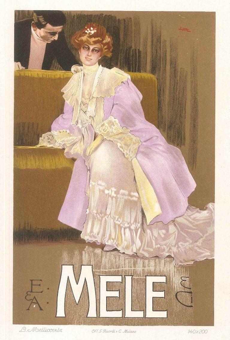 Leopoldo Metlicovitz Figurative Print - Mele - Original Vintage Advertising Lithographby L. Metlicovitz - 1906