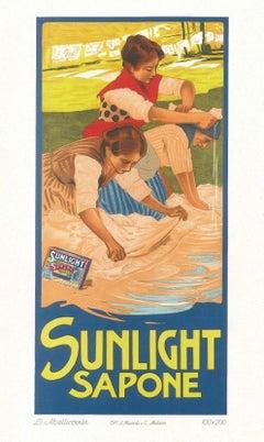 Sunlight Sapone - Vintage Adv Lithograph by L. Metlicovitz - 1900 ca.