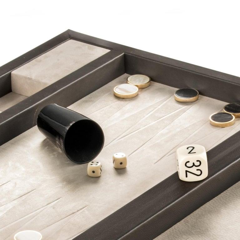 Lepanto Backgammon in Brown Leather, Nabuck and Corno Italiano, Mod. 5122 In New Condition For Sale In Recanati, Macerata