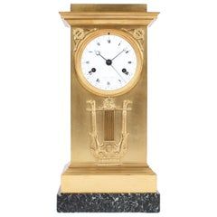 Lepaute & Fils Mantel Clock with Calender, Empire circa 1815, Firegilt Bronze