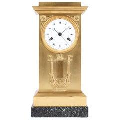 Lepaute & Fils Mantel Clock with Calender, Empire circa 1815, Firegilt Bronze