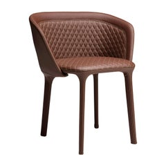 Lepel Brown Leather Armchair by Luca Nichetto