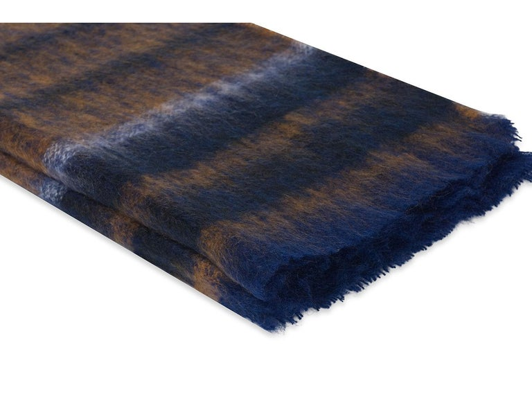 Stripe mohair blend throw. Mohair and wool with a touch of nylon. Made in South Africa.