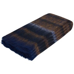 Lerato Stripe Mohair Throw in Blue and Brown Mohair by CuratedKravet