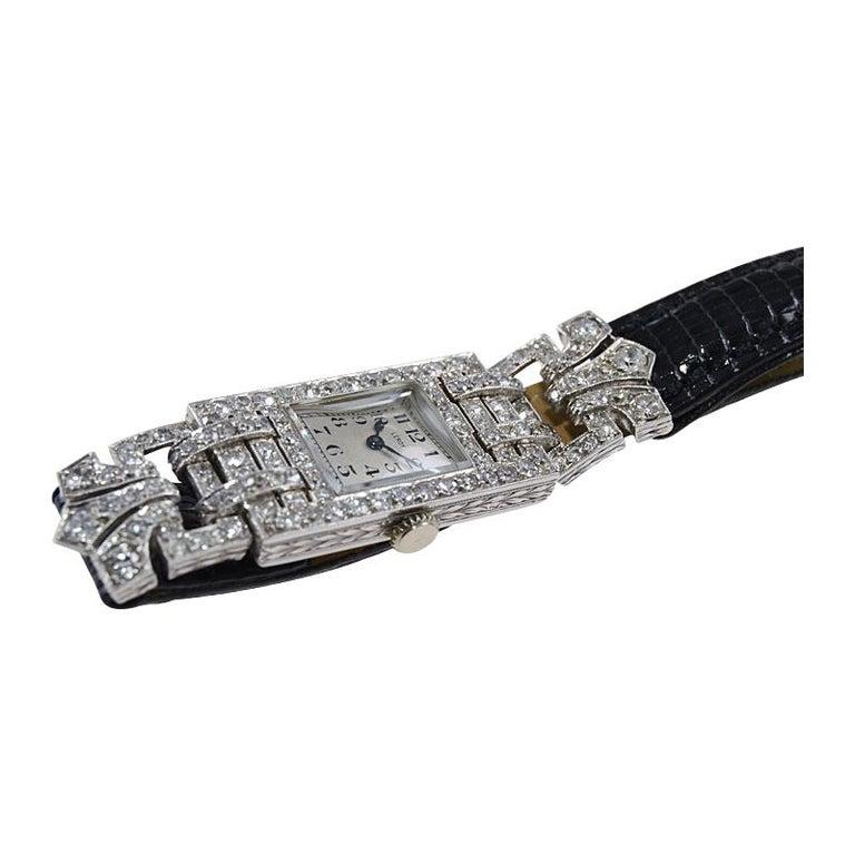 Leroy Ladies Platinum Art Deco Articulated Diamond Dress Watch For Sale 7