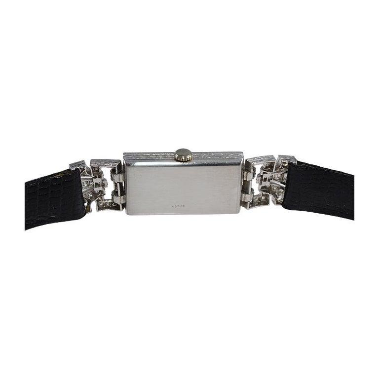 Leroy Ladies Platinum Art Deco Articulated Diamond Dress Watch For Sale 8