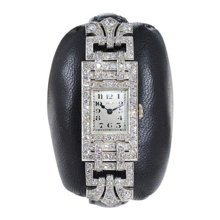 Round Cut Leroy Ladies Platinum Art Deco Articulated Diamond Dress Watch For Sale