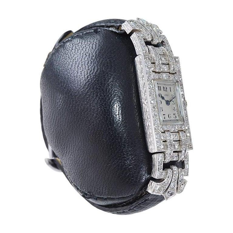 Women's Leroy Ladies Platinum Art Deco Articulated Diamond Dress Watch For Sale
