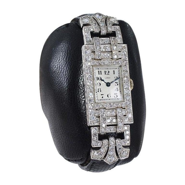 Leroy Ladies Platinum Art Deco Articulated Diamond Dress Watch For Sale 1