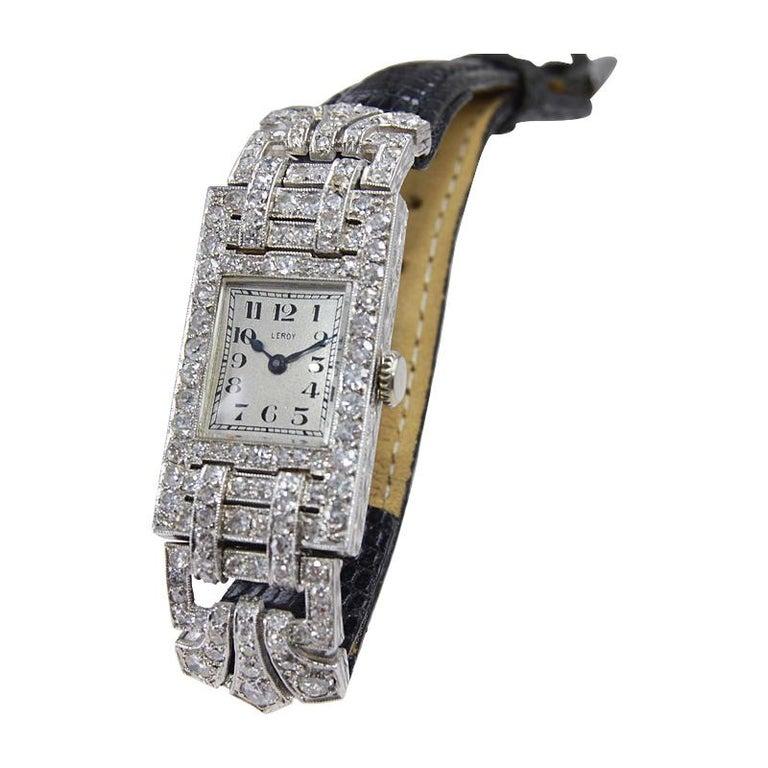 Leroy Ladies Platinum Art Deco Articulated Diamond Dress Watch For Sale 3