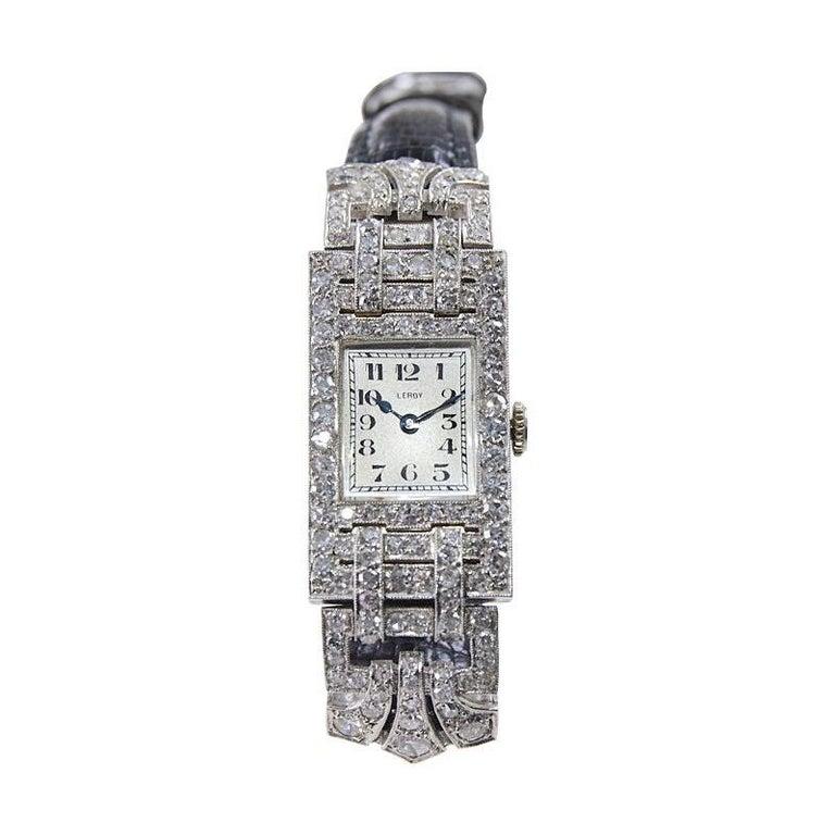 Leroy Ladies Platinum Art Deco Articulated Diamond Dress Watch For Sale 4