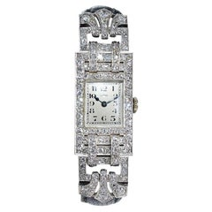 Leroy Ladies Platinum Art Deco Articulated Diamond Dress Watch
