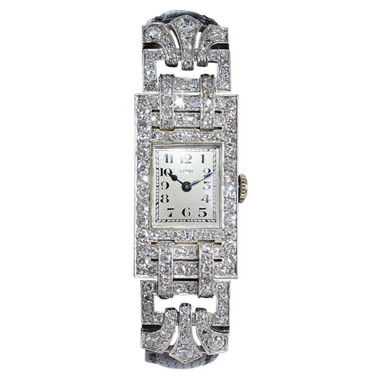 Leroy Ladies Platinum Art Deco Articulated Diamond Dress Watch For Sale