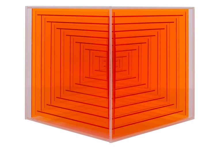 The epitome of Leroy Lamis' great skill, this cubic sculpture is constructed with precisely sized acrylic pieces carefully glued together. Lamis crafted with great technical precision aiming at the surface free of human traces. The cubes built up