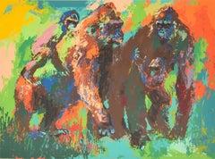 Leroy Neiman Gorilla Family Serigraph Signed Painting Art African Wildlife
