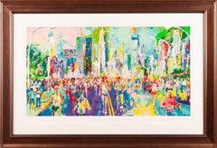LeRoy Neiman New York Marathon Skyline Painting Art Large Artwork Signed