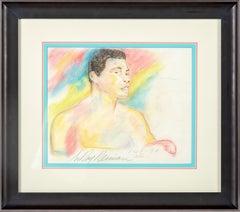 Leroy Neiman Original Colored Pencil Drawing Muhammad Ali Signed Dated Rare