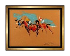 LeRoy Neiman Original Horse Racing Oil Painting Signed Sports Framed Artwork SBO