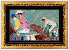 LeRoy Neiman Original Oil Painting on Board Signed Horse Racing Jockey Sport Art