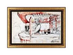 LeRoy Neiman Original Oil Painting Signed London Star Tavern Bar Scene Artwork