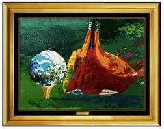 LeRoy Neiman Original Painting Oil on Board Signed Big Time Golf Framed Artwork