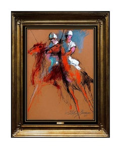 LeRoy Neiman Original Painting Oil On Board Signed Horse Sports Authentic Art