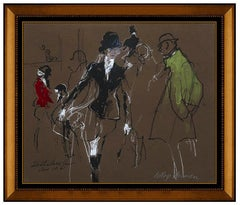 LeRoy Neiman Original Painting Signed Horse Racing Sports Authentic Framed Art