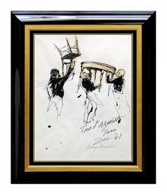 LeRoy NEIMAN Painting Original Gouache Signed Paris Playboy Art Bar AUTHENTIC