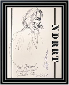LeRoy Neiman RARE Original Ink Drawing Signed Neil Diamond Portrait Framed Art