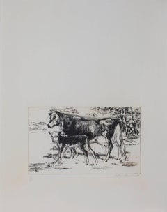 """Bovine Family,"" Original Etching Farm Scene signed by LeRoy Neiman"