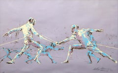 Fencers, Munich Olympics by Leroy Neiman 1972