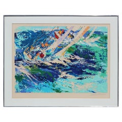 """High Seas Sailing"" Colorful Abstract Expressionist Lithograph"