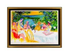 Large LEROY NEIMAN Original SIGNED Serigraph Wine Alfresco Framed Art Painting