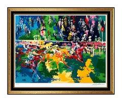 LeRoy Neiman Ascot Finish Original Horse Racing Color Serigraph Signed Large Art