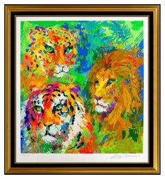 LeRoy Neiman Big Cat Family Portrait Color Serigraph Large Signed Animal Art