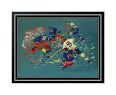 LeRoy Neiman Blue Hockey Signed Color Serigraph Blackhawks Bobby Hull Sports Art