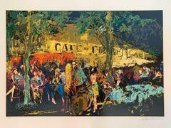 """Leroy Neiman """"Cafe de Flore La Nuit"""" Hand Signed Limited Serigraph"""