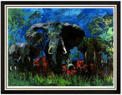 LeRoy Neiman Elephant Stampede Serigraph Large Original Hand Signed Animal Art
