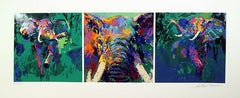 Leroy Neiman Elephant Triptych Hand Signed & Numbered Serigraph