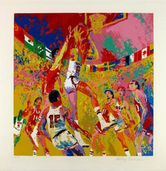 Leroy Neiman Framed Olympic Basketball Hand signed and Numbered Serigraph