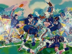 Leroy Neiman Giants Broncos Classic Superbowl 87 Hand signed numbered serigraph