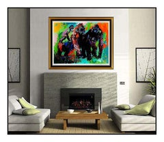 LeRoy Neiman Gorilla Family Large Color Serigraph Signed Animal Artwork Painting