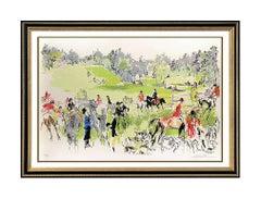 LeRoy Neiman Hunter Trials Color Serigraph Large Signed Horse Artwork Framed SBO