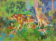Leroy Neiman Jaguar Family Framed Sign/#d LE Serigraph