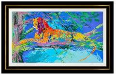 LeRoy Neiman Kenya Leopard Large Color Serigraph Hand Signed Big Cat Original