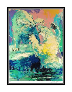 LeRoy NEIMAN Large Authentic Color Serigraph Polar Bears Hand Signed Artwork SBO