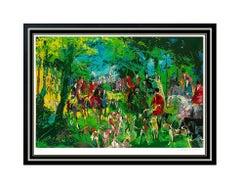 LeRoy Neiman Large Chateau Hunt Color Serigraph Horse Sports Hand Signed Artwork