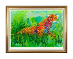 LeRoy Neiman Large Color Serigraph Big Cat Prowling Leopard Hand Signed Animal