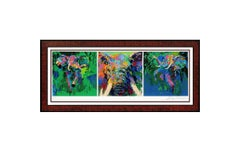 LeRoy Neiman Large Color Serigraph Elephant Triptych Hand Signed Animal Artwork